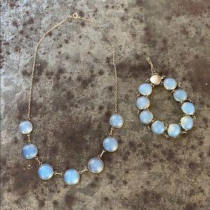 Vintage Opalite Silver Necklace & Bracelet Set